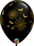 "Halloween Spider-Webs & Bats 11"" Latex Balloon"