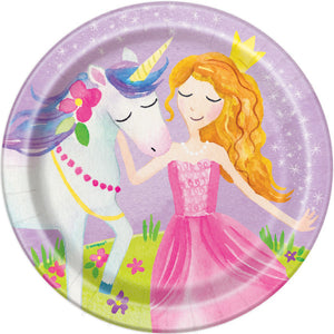 "Magical Princess and Unicorn Round 7"" Dessert Plates, 8ct"