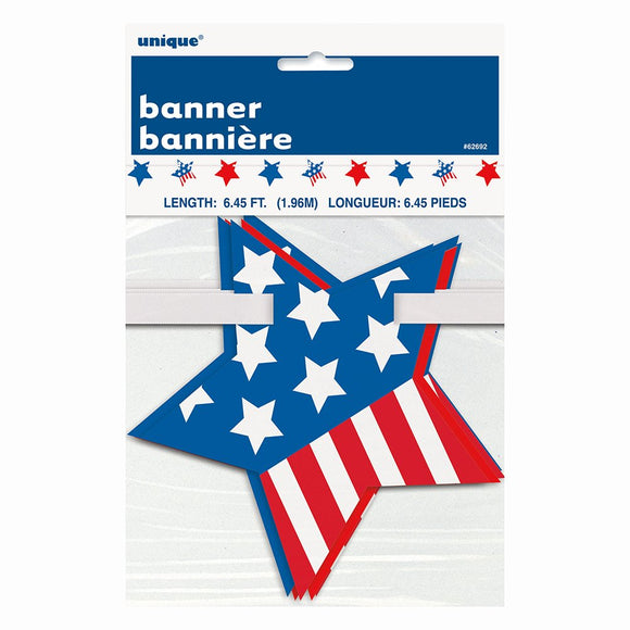 4th of July, 6.45ft Paper Cutout Stars & Stripes Garland
