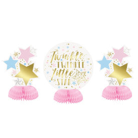 "6"" Foil Twinkle Twinkle Little Star Mini Honeycomb Centerpieces, 3ct .;."