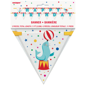 Circus Carnival Happy Birthday Banner, 11 ft
