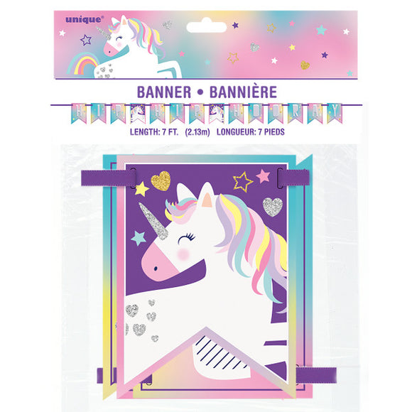 Unicorn Party Pennant Banner, 7 ft