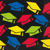 Colorful Cap Graduation Beverage Napkins