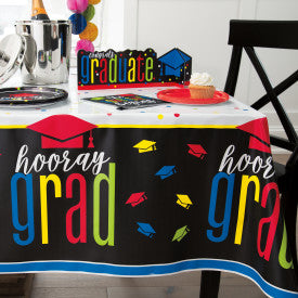 "Colorful Cap Grad Rectangular Plastic Table Cover, 54"" x 84"""