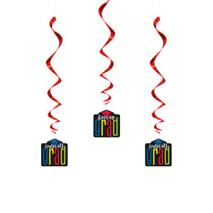 "Colorful Cap Grad Hanging Swirl Decorations, 26"", 3ct"
