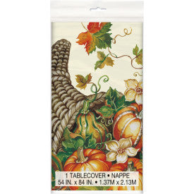 """Harvest Pumpkins"" Thanksgiving Rectangular Plastic Table Cover, 54""x84"""