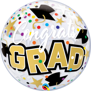 "22"" Congrats Grad Confetti Single Bubble Balloon"