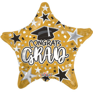"18"" Congrats Grad Gold Star Foil Balloon"