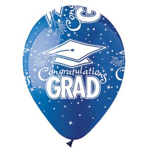 "12"" Blue Congrats Grad All-Around Print Latex Balloon..."