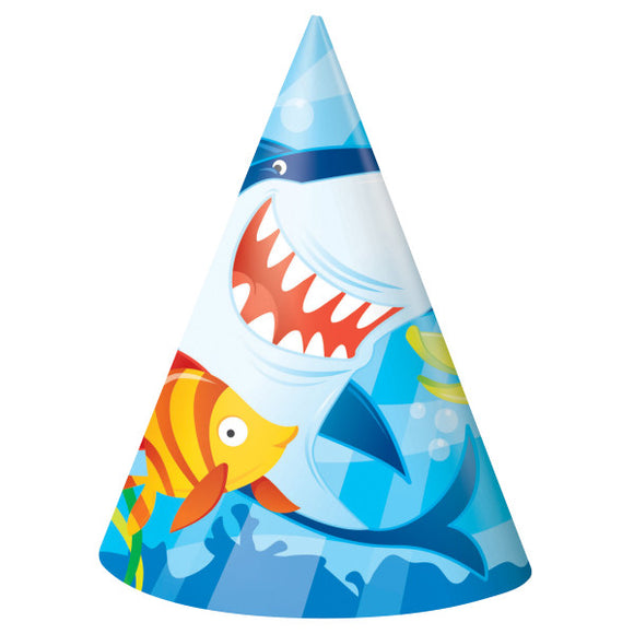 Fin Friends Shark Party Hats, 8ct