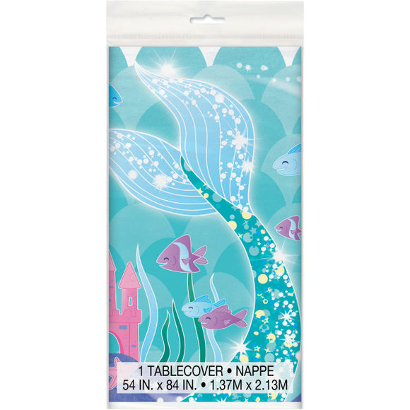 Mermaid Rectangular Plastic Table Cover, 54