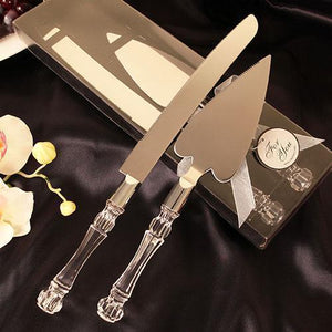 Silver and Crystal Knife and Cake Server Set, 2pc