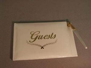 Gold Wedding Guest Book w/ Pen, 1pc