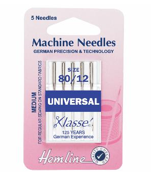 Sewing Machine Needles: Universal: Medium 80/12: 5 Pieces-Hemline-Loubodu Fabrics