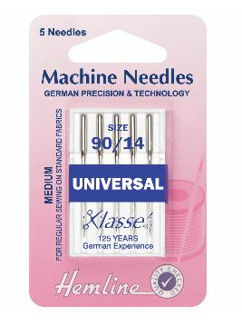 Sewing Machine Needles: Universal: Medium/Heavy 90/14: 5 Pieces-Hemline-Loubodu Fabrics