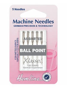 Sewing Machine Needles: Ball Point: Mixed: 5 Pieces-Hemline-Loubodu Fabrics (2504391950421)