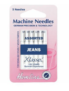 Sewing Machine Needles: Jeans: Heavy Mixed: 5 Pieces-Hemline-Loubodu Fabrics
