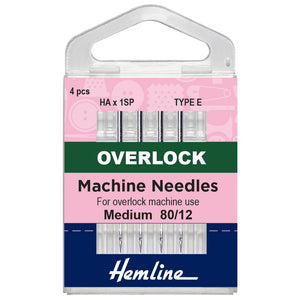 Overlocker Machine Needles: Type E: 80/12-Hemline-Loubodu Fabrics