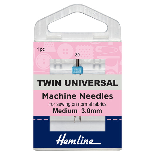 Twin Universal Machine Needle: 80/12, 3mm-Hemline-Loubodu Fabrics