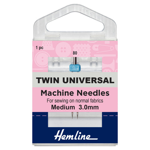 Twin Universal Machine Needle: 80/12, 3mm-Hemline-Loubodu Fabrics (2632082948181)
