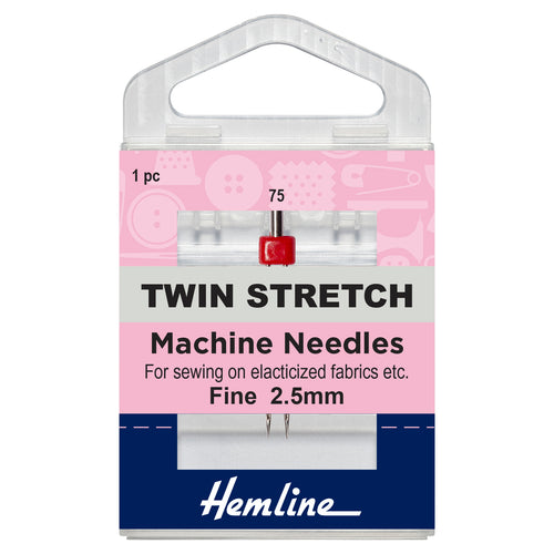 Twin Stretch Machine Needle: 75/11, 2.5mm-Hemline-Loubodu Fabrics