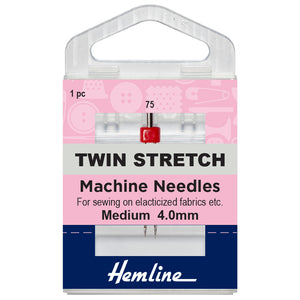 Twin Stretch Machine Needle: 75/11, 4mm-Hemline-Loubodu Fabrics (2632081277013)