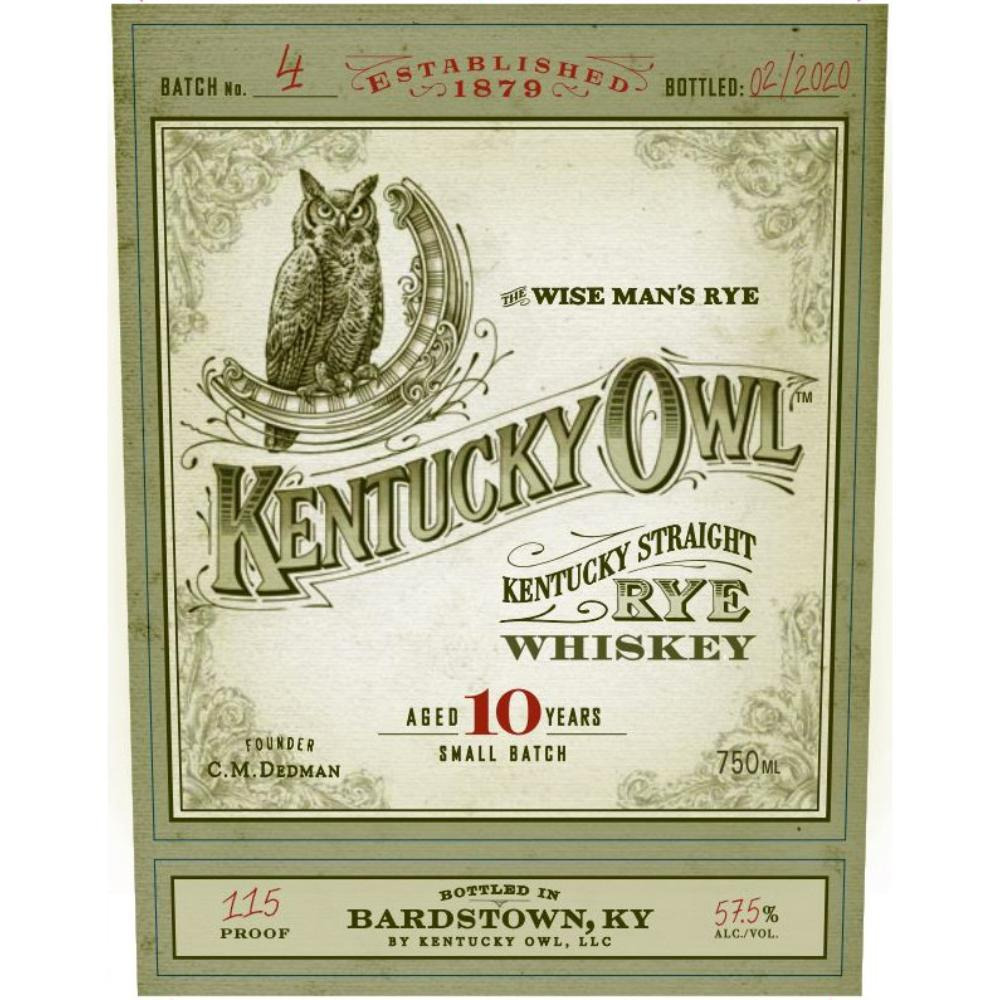 Kentucky Owl 10 Year Old Rye Batch #4 Rye Whiskey Kentucky Owl