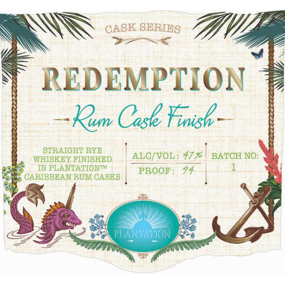 Redemption Rum Cask Finish Rye Whiskey Redemption