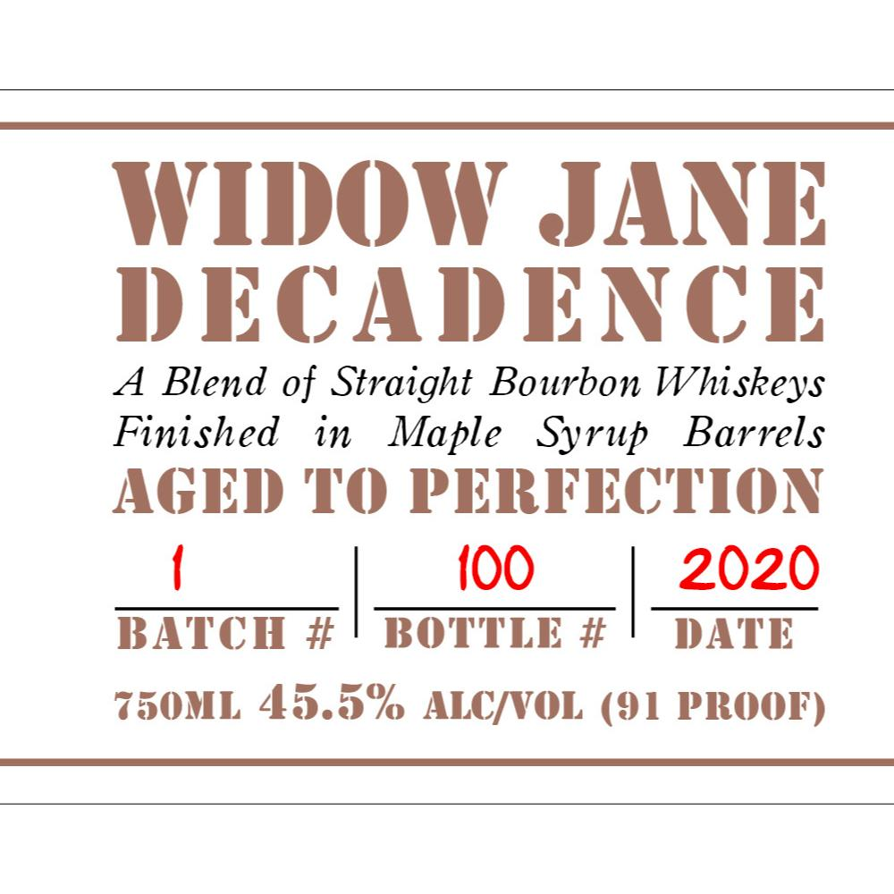 Widow Jane Decadence Bourbon Widow Jane