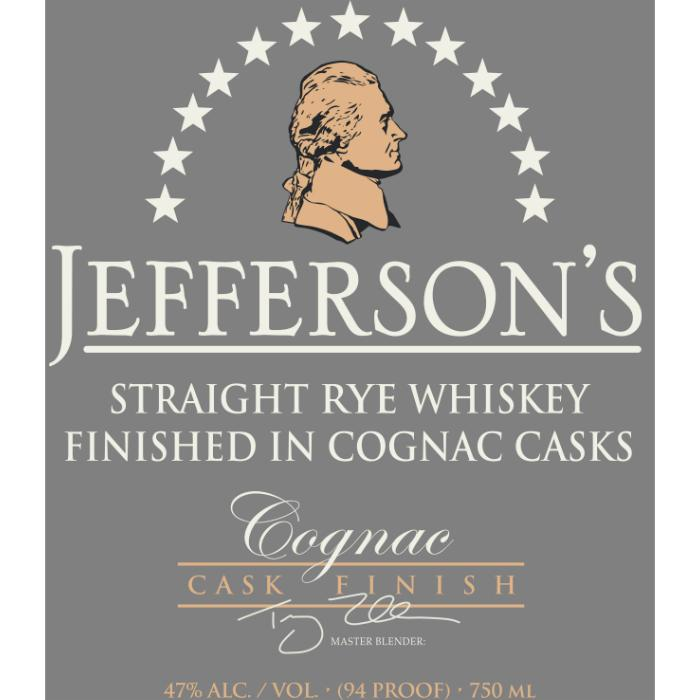 Jefferson's Rye Cognac Cask Finish Rye Whiskey Jefferson's