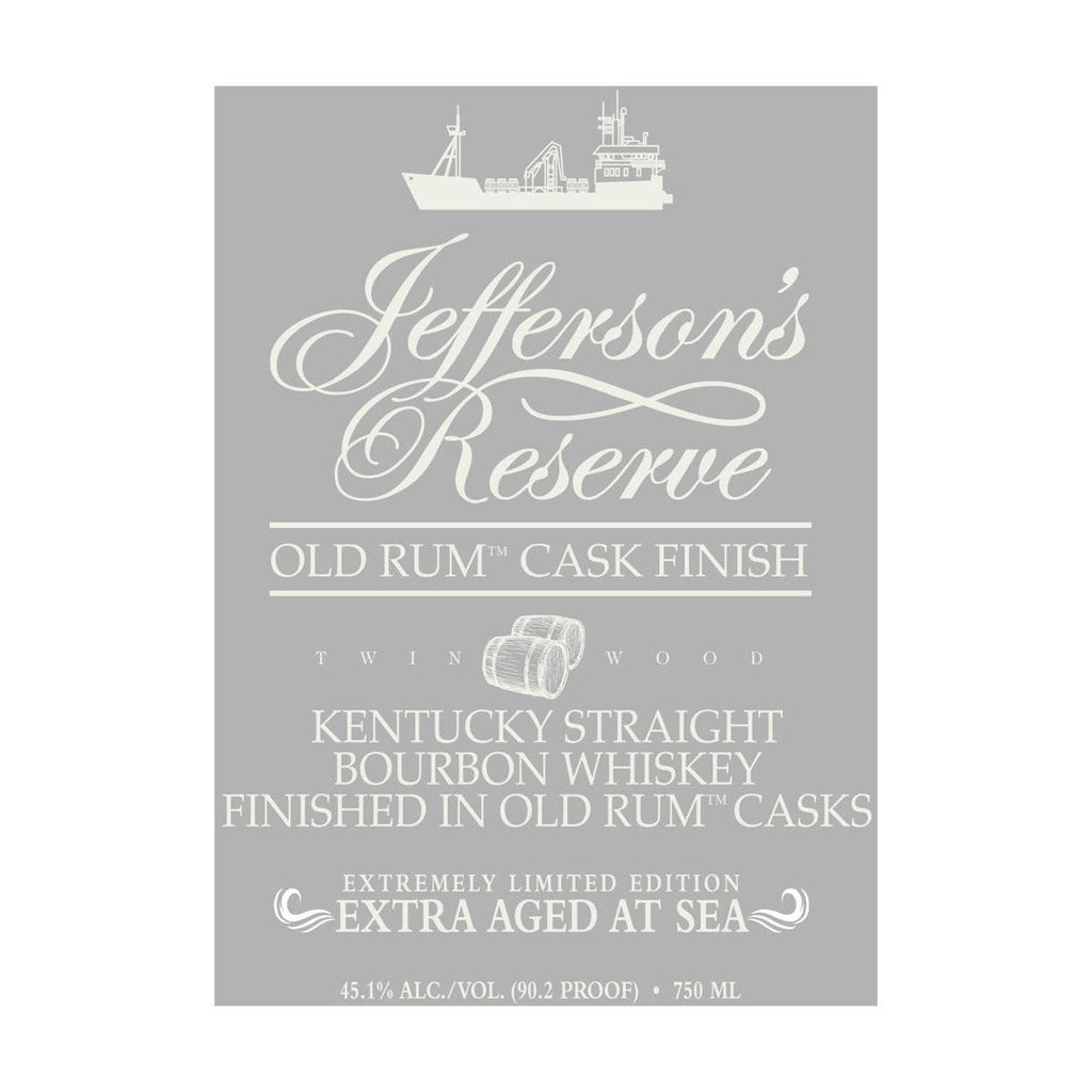 Jefferson's Reserve Old Rum Cask Finish Extra Aged At Sea Kentucky Straight Bourbon Whiskey Jefferson's