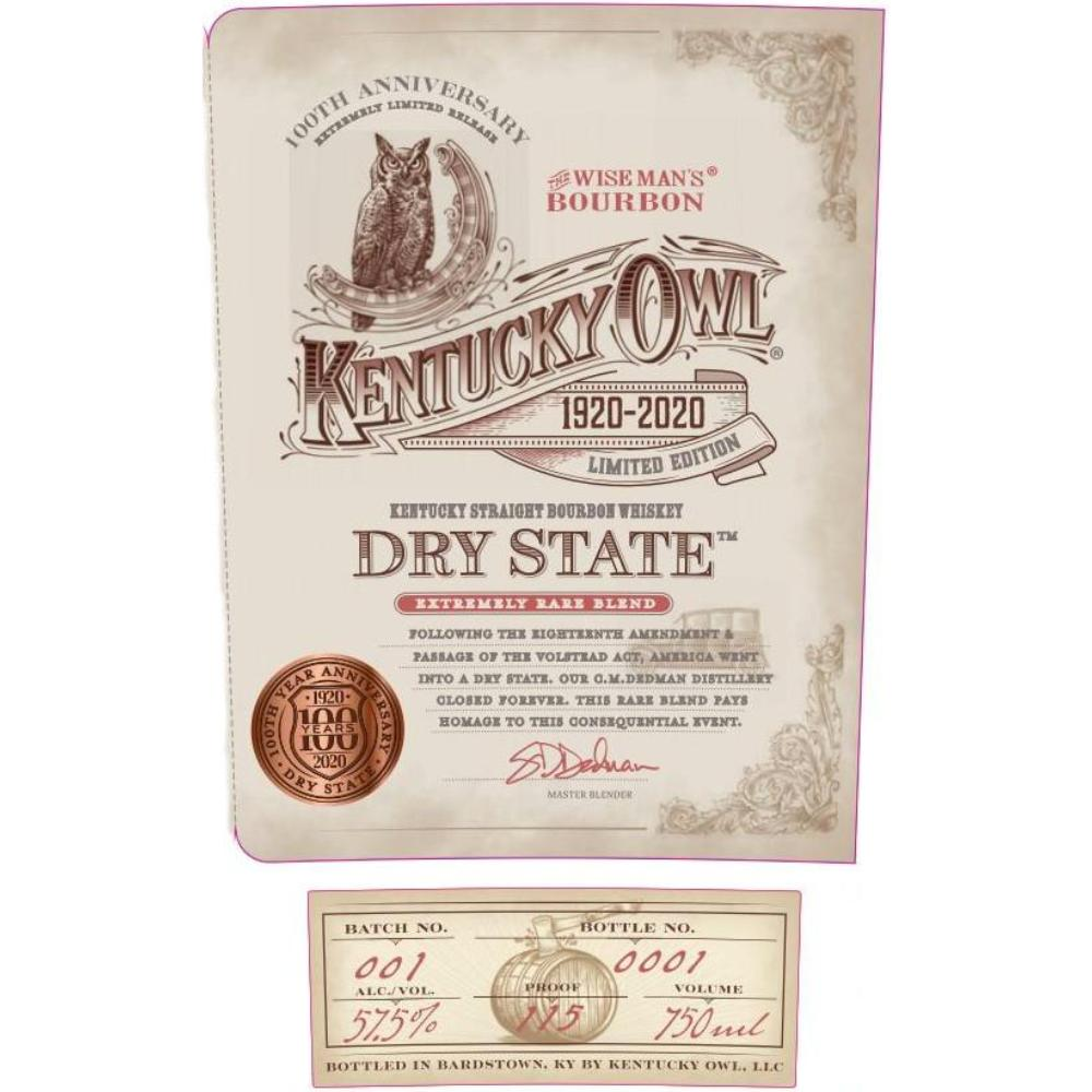 Kentucky Owl Dry State 100th Anniversary Edition Bourbon Kentucky Owl