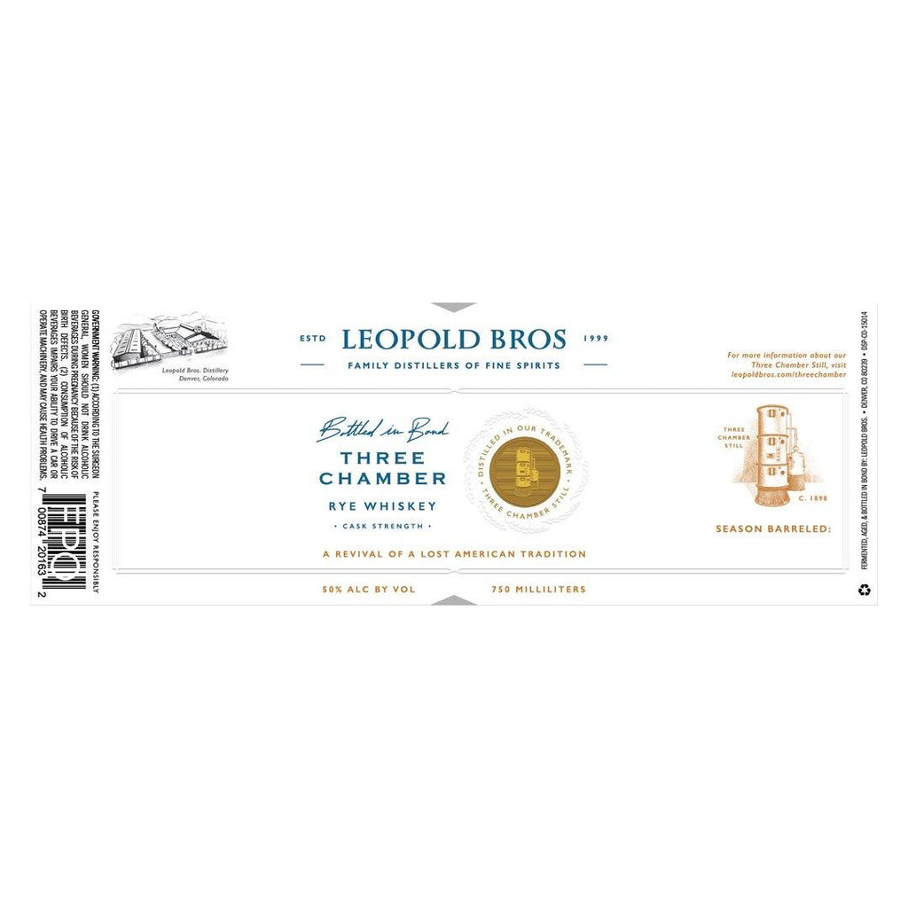 Leopold Bros Three Chamber Rye Whiskey Bottled In Bond Rye Whiskey Leopold Bros