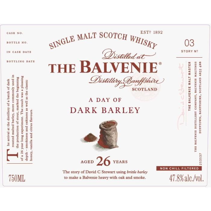 The Balvenie A Day Of Dark Barley 26 Year Old Scotch The Balvenie