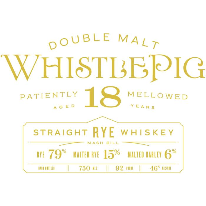WhistlePig 18 Year Old Double Malt Rye Whiskey WhistlePig