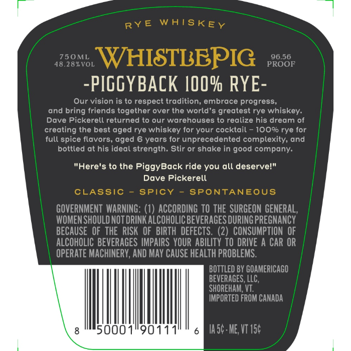 WhistlePig Piggyback 6 Year Old Rye Rye Whiskey WhistlePig