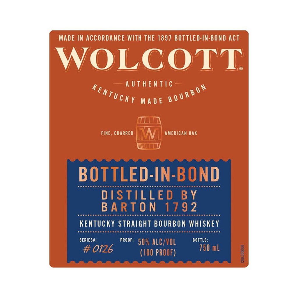 Wolcott Bourbon Bottled In Bond Kentucky Straight Bourbon Whiskey Wolcott Bourbon