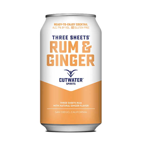 Three Sheets Rum & Ginger (4 Pack - 12 Ounce Cans) Canned Cocktails Cutwater Spirits