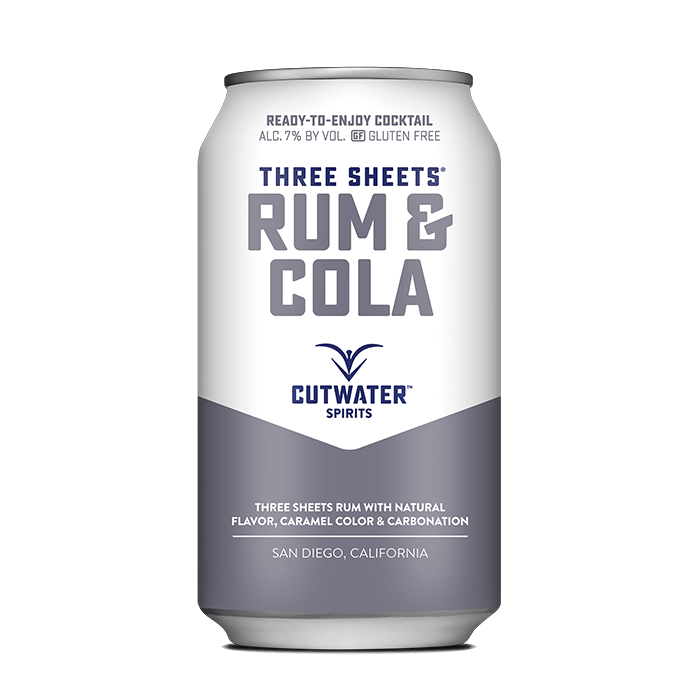 Three Sheets Rum & Cola (4 Pack - 12 Ounce Cans) Canned Cocktails Cutwater Spirits