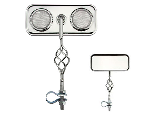 Cage Rectangle Mirror Chrome with Reflectors