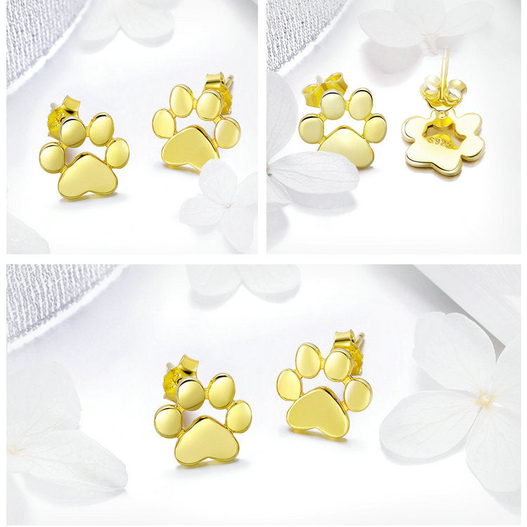 Sterling Silver Paw Earrings