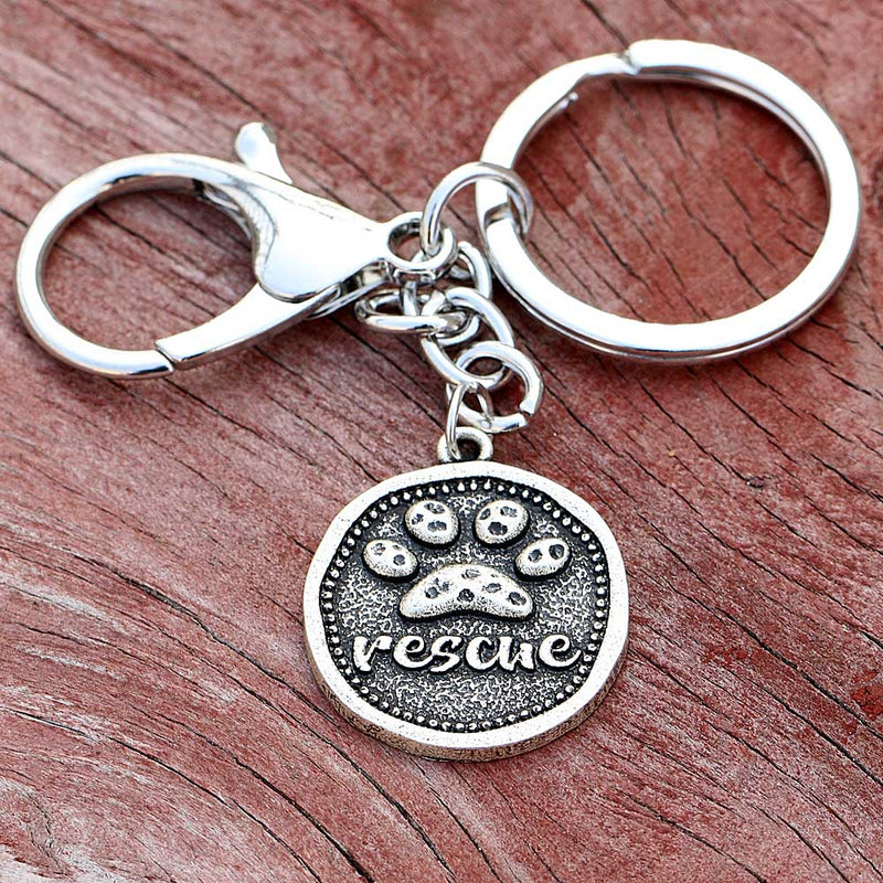 Vintage Dog Keychain Car Key Accessorries Bag Animal Pet Breed Dog Rescue Paw print Pendant Key Ring Holder