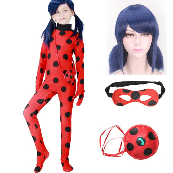 Halloween Adult Kids with Wig Bag Ladybug Miraculous Costumes Cosplay