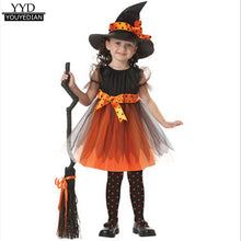 Load image into Gallery viewer, Halloween 2018 Party Children Costumes for Kids Cosplay Witch Dress With Hat #809