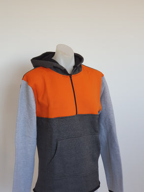 Orange, Charcoal & Grey Shearing Hoody with half zip front - Just Shear