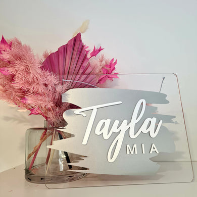Clear Acrylic Name Board | Silver