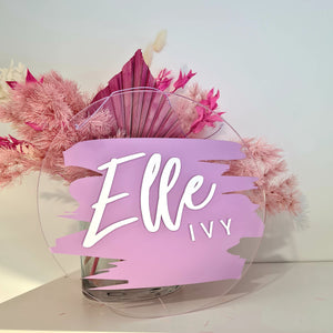 Clear Acrylic Name Board | Lilac