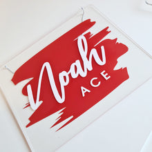 Load image into Gallery viewer, Clear Acrylic Name Board | Red