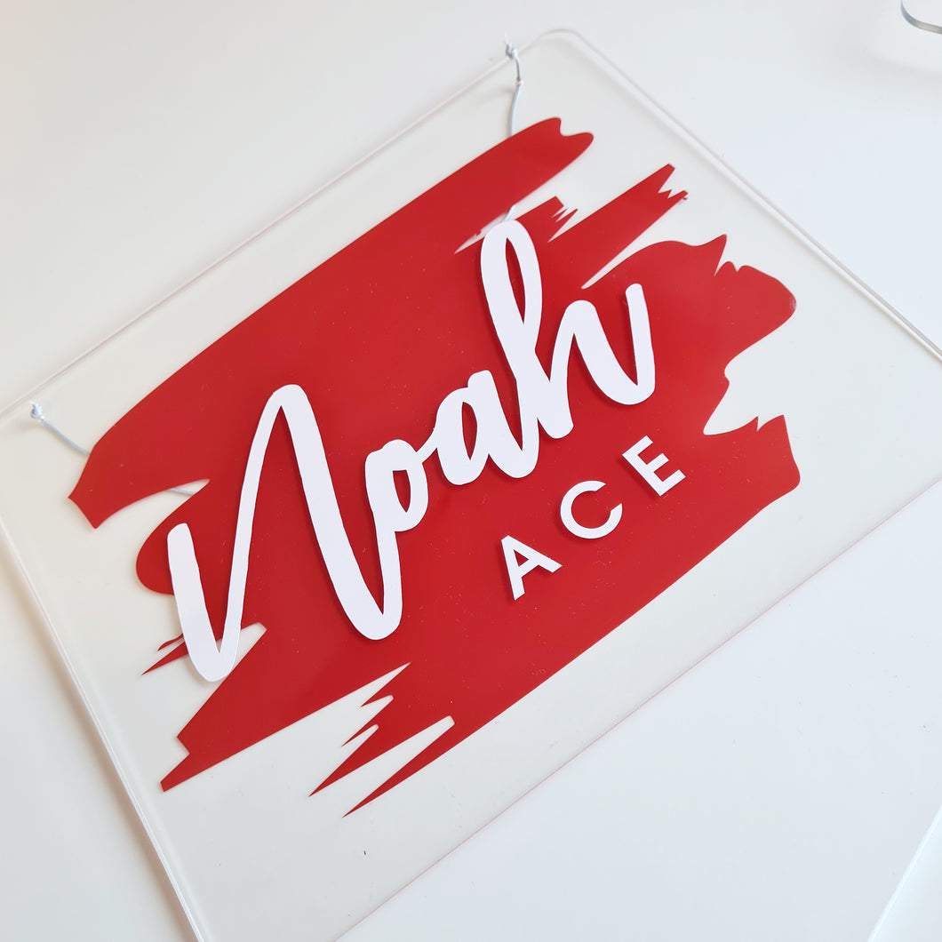 Clear Acrylic Name Board | Red