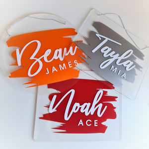 Clear Acrylic Name Board | Orange
